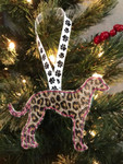 Ornament Greyhound Silhouette Gold Leopard Glitter