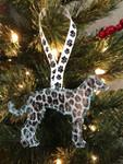Ornament Greyhound Silhouette Silver Leopard Glitter