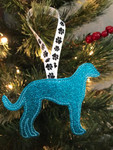 Ornament Greyhound Silhouette Turquoise Glitter
