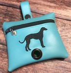 Faux Leather Poopie Pouch - Greyhound Silhouette Aqua