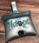 Faux Leather Poopie Pouch - Adopt Silver