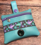 Faux Leather Poopie Pouch - Hummingbird Delight Aqua