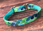 1/2 inch Tag Collar - Mermaid Shimmer Lagoon Pleather