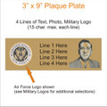 """0904 - 3"""" x 9"""" Engraved Plaque with Photo and Logo"""