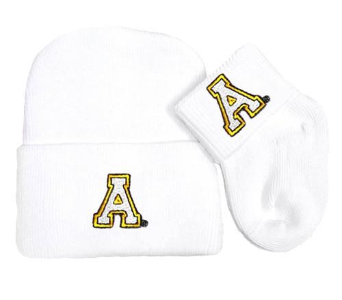 Appalachian State Mountaineers Newborn Baby Knit Cap and Socks Set