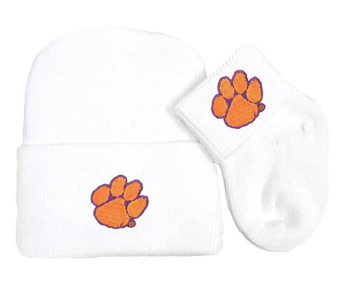 Clemson Tigers Newborn Baby Knit Cap and Socks Set