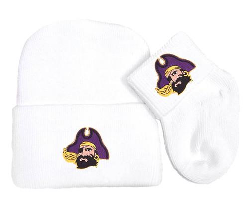 East Carolina Pirates Newborn Baby Knit Cap and Socks Set