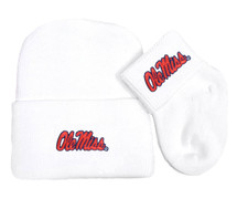Mississippi Ole Miss Rebels Newborn Baby Knit Cap and Socks Set