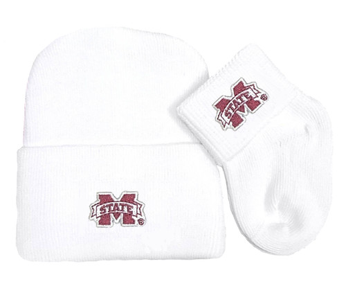 Mississippi State Bulldogs Newborn Baby Knit Cap and Socks Set