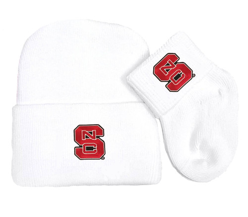 NC State Wolfpack Newborn Baby Knit Cap and Socks Set