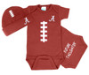 Alabama Crimson Tide Touchdown Football Onesie and Cap Baby Gift Set