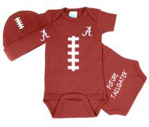 Alabama Crimson Tide Touchdown Football Onesie and Cap Baby Gift Set