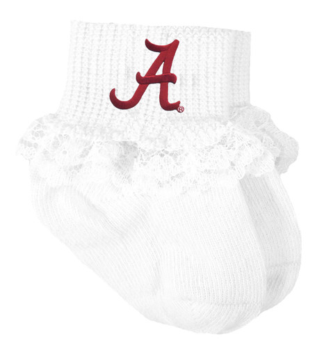 Alabama Crimson Tide Baby Laced Sock Booties