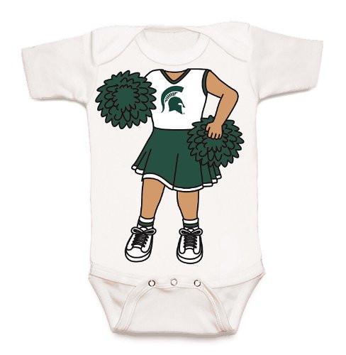 Michigan State Spartans Heads Up! Cheerleader Baby Onesie