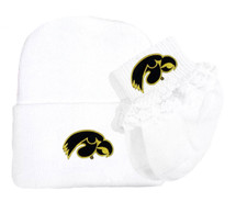 Iowa Hawkeyes Newborn Knit Cap and Socks with Lace Baby Set