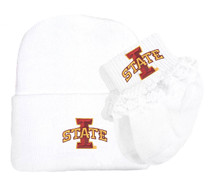 Iowa State Cyclones Newborn Knit Cap and Socks with Lace Baby Set