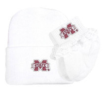 Mississippi State Bulldogs Newborn Knit Cap and Socks with Lace Baby Set