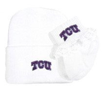 Texas Christian TCU Horned Frogs Newborn Baby Knit Cap and Socks with Lace Set