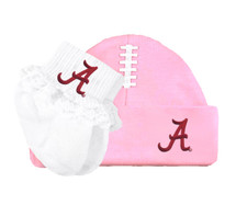 Alabama Crimson Tide Football Cap and Socks with Lace Baby Set