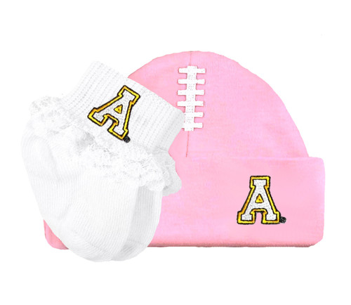 Appalachian State Mountaineers Football Cap and Socks with Lace Baby Set