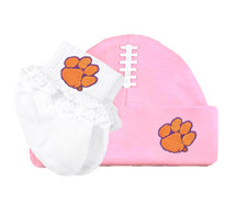 Clemson Tigers Baby Football Cap and Socks with Lace Set