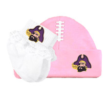 East Carolina Pirates Baby Football Cap and Socks with Lace Set