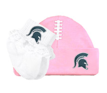 Michigan State Spartans Baby Football Cap and Socks with Lace Set