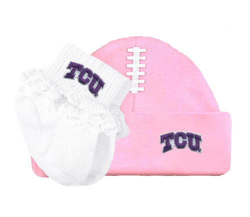 Texas Christian TCU Horned Frogs Baby Football Cap and Socks with Lace Set