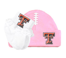 Texas Tech Red Raiders Baby Football Cap and Socks with Lace Set