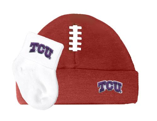 Texas Christian TCU Horned Frogs Baby Football Cap and Socks Set