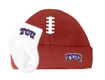 Texas Christian TCU Horned Frogs Baby Football Cap and Socks Set