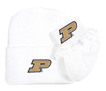 Purdue Boilermakers Newborn Knit Cap and Socks with Lace Baby Set