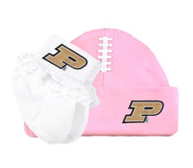 Purdue Boilermakers Football Cap and Socks with Lace Baby Set