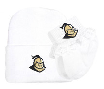 UCF Knights Newborn Baby Knit Cap and Socks with Lace Set