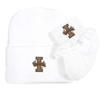 Idaho Vandals Newborn Knit Cap and Socks with Lace Baby Set