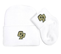 Cal Poly Mustangs Newborn Baby Knit Cap and Socks Set