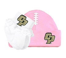 Cal Poly Mustangs Baby Football Cap and Socks with Lace Set