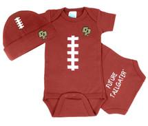 Cal Poly Mustangs Baby Football Onesie and Cap Set