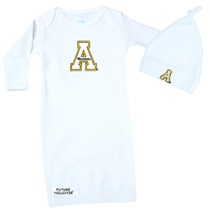Appalachian State Mountaineers Baby Layette Gown and Knotted Cap Set
