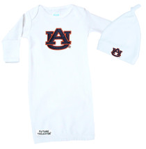 Auburn Tigers Baby Layette Gown and Knotted Cap Set