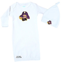East Carolina Pirates Baby Layette Gown and Knotted Cap Set