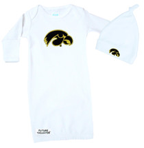 Iowa Hawkeyes Baby Layette Gown and Knotted Cap Set
