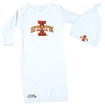 Iowa State Cyclones Baby Layette Gown and Knotted Cap Set