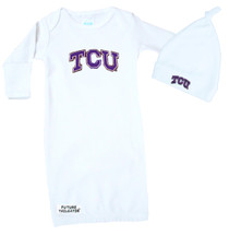 Texas Christian TCU Horned Frogs Baby Layette Gown and Knotted Cap Set