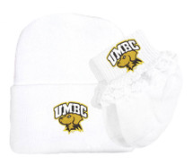 UMBC Retrievers Newborn Knit Cap and Socks with Lace Baby Gift Set