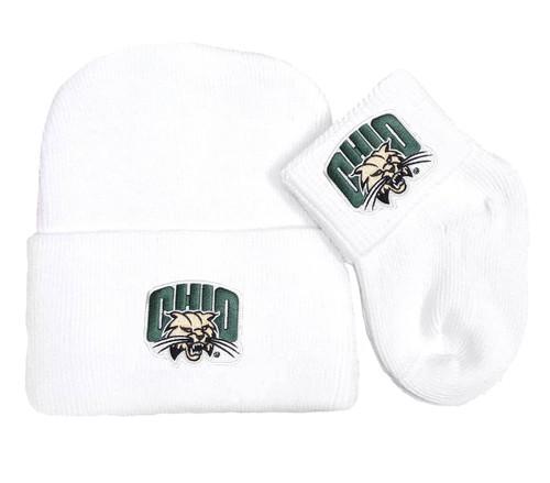 Ohio Bobcats Newborn Baby Knit Cap and Socks Set