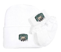 Ohio Bobcats Newborn Baby Knit Cap and Socks with Lace Set
