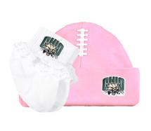 Ohio Bobcats Baby Football Cap and Socks with Lace Set