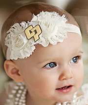Cal Poly Mustangs Baby/ Toddler Shabby Flower Hair Bow Headband