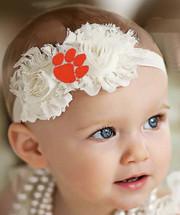 Clemson Tigers Baby/ Toddler Shabby Flower Hair Bow Headband